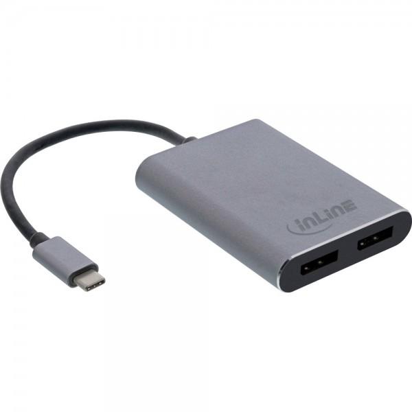 InLine® USB Dual Display Konverter, USB Typ-C zu 2x DisplayPort Buchse (DP Alt Mode), 4K, schwarz, 0.1m