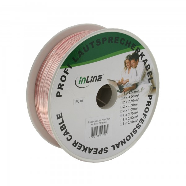 InLine® Lautsprecherkabel, 2x 0,75mm², CCA, transparent, 50m