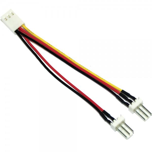 InLine® Lüfter Adapterkabel, 3pol Molex Buchse an 2x 3pol Molex Stecker, 100er Pack, bulk