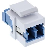 InLine® LWL Keystone Snap-in Kupplung weiß, Duplex LC/LC, singlemode, blau, Keramik-Hülse, Duplex LC/LC, singlemode, blau, Keramik-Hülse