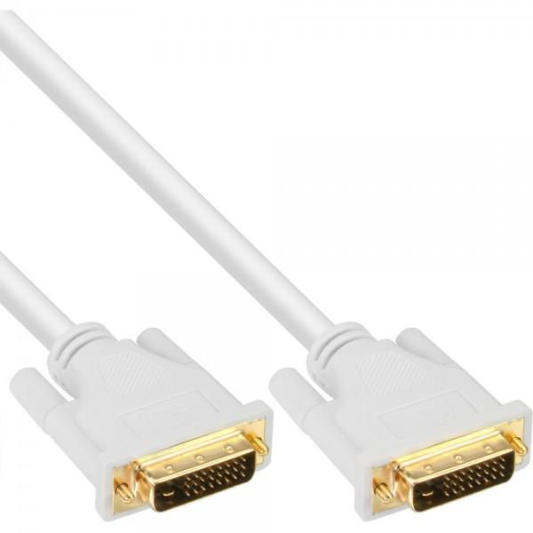 InLine® DVI-D Kabel, digital 24+1 Stecker / Stecker, Dual Link, weiß / gold, 2m