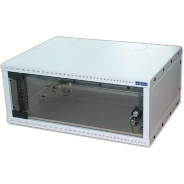 "19"" Wandschrank 4HE, Triton RXA-04-AS4-CAX-A1, 550x400, zerlegbar, Glastür, lichtgrau"