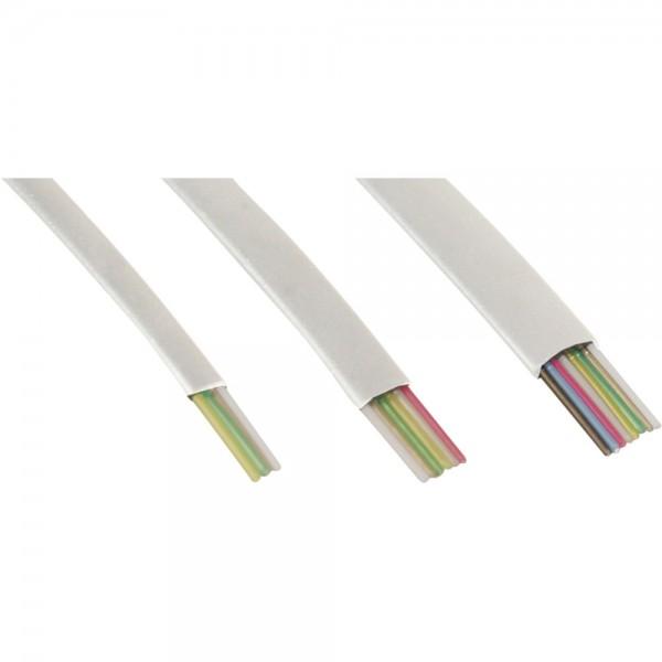 InLine® Modularkabel, 8adrig Flachband weiß, 100m Ring