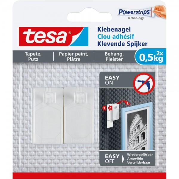 tesa Klebenagel, 2 Stück, für Tapeten und Putz, bis zu 0,5kg pro Nagel, weiß