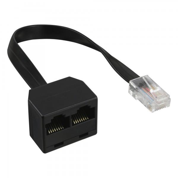 InLine® ISDN Verteiler, 1x RJ45 St an 2x RJ45 Bu, (8P8C) mit 15cm Kabel, ohne Endwiderstände