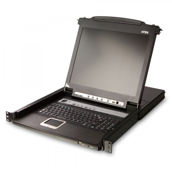 "ATEN CL5708M KVMP-Switch 8fach mit 17""-Display, USB, PS/2, 19-Zoll-Rackmontage, DE-Layout"