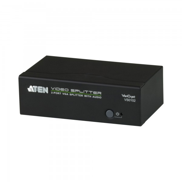 ATEN VS0102 Video-Splitter VGA/Audio 2-Port-Verteiler 450 MHz