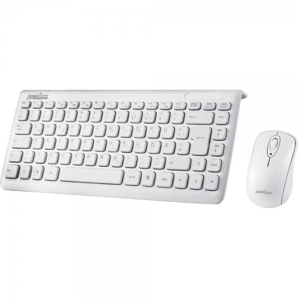 Perixx PERIDUO-707 PLUS DE W, Mini Tastatur und Maus Set, schnurlos, weiß