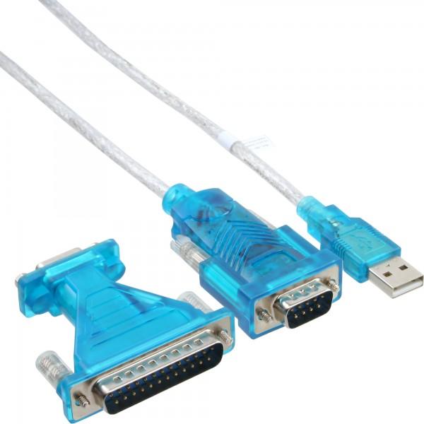 InLine® USB zu Seriell Adapterkabel, USB Stecker A an 9pol Stecker, 1,8m, mit 9-25pol Adapter