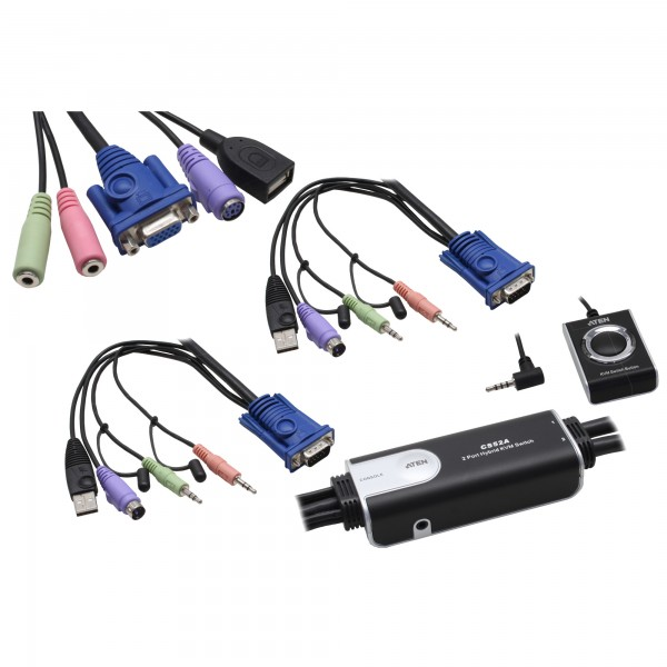 ATEN CS52A KVM-Switch 2-fach, Hybrid Petite, PS/2, USB, mit Audio