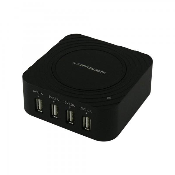 LC-Power LC-CH-USB, 4-Port-USB-Ladegerät, 2x 5V/2,1A und 2x 5V/1,0A, schwarz