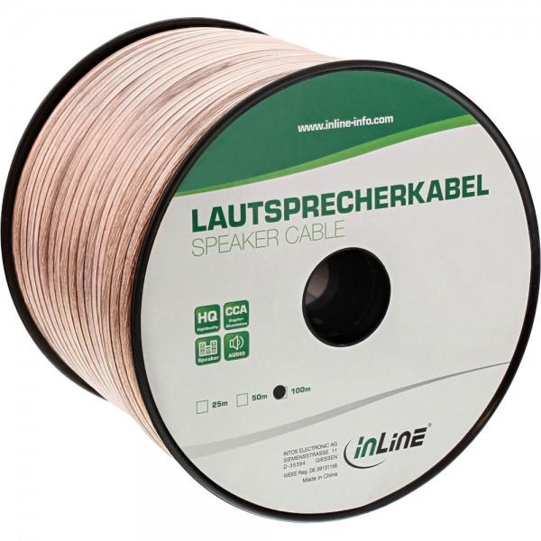InLine® Lautsprecherkabel, 2x 4mm², CCA, transparent, 100m