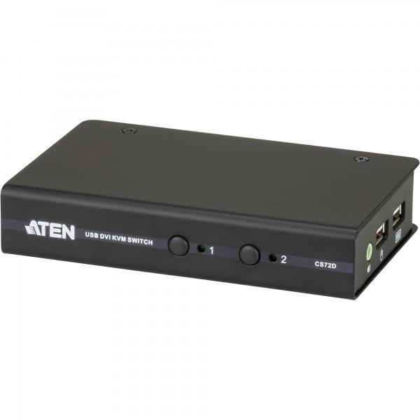 ATEN CS72D KVM-Switch, 2-fach, DVI, USB, Audio, kompakt