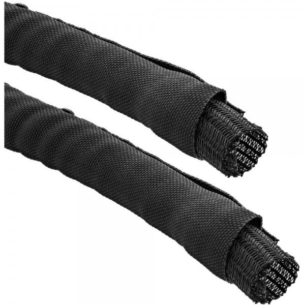 InLine® Kabelkanal, Geflechtschlauch mit Polyestergewebemantel, selbstverschließend in schwarz, 25mm Durchmesser , 5m