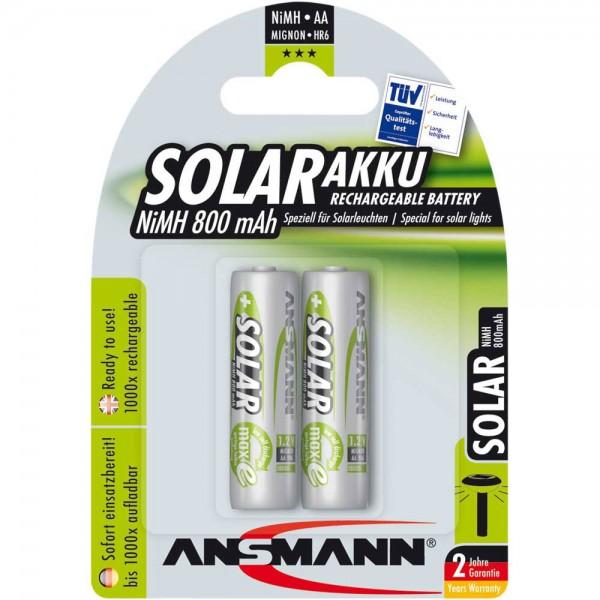 ANSMANN 5035513 NiMH-Akku Mignon AA, SOLAR, 800mAh, 2er-Pack