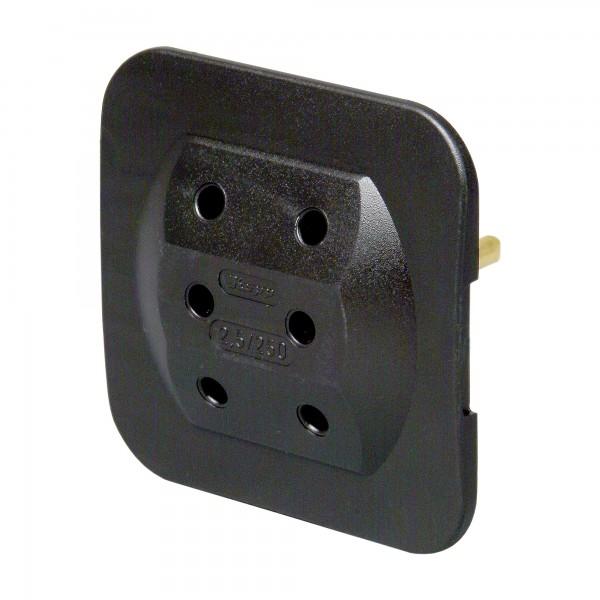 Kopp Euro 3-fach-Adapter, extra flach, schwarz