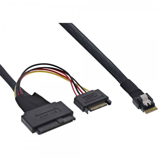 InLine® Slim SAS Kabel, SFF-8654 zu U.2 SFF-8639 + SATA Strom, 24Gb/s, 1m