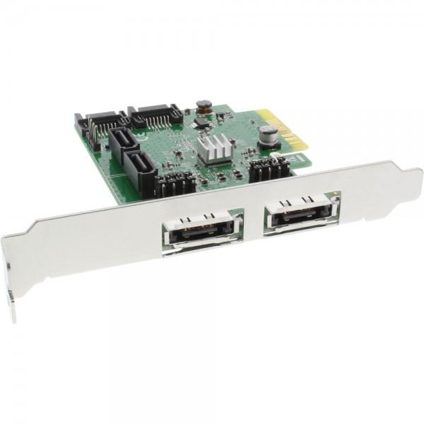 InLine® Schnittstellenkarte, 4x SATA 6Gb/s, RAID 0,1,10 JBOD, mit 4x SATA + 2x eSATA, PCIe 2.0 (PCI-Express)