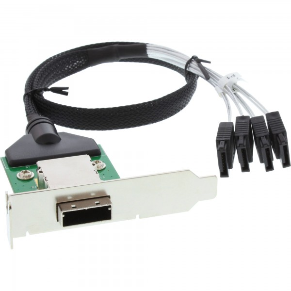 InLine® SAS low profile Slotblech PCI mit Kabel, ext. SFF-8088 auf int. 4x SATA, 0,5m