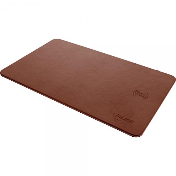 InLine® Maus-Pad, Wireless Charging (Qi), Kunstleder, 370x225x7mm, braun