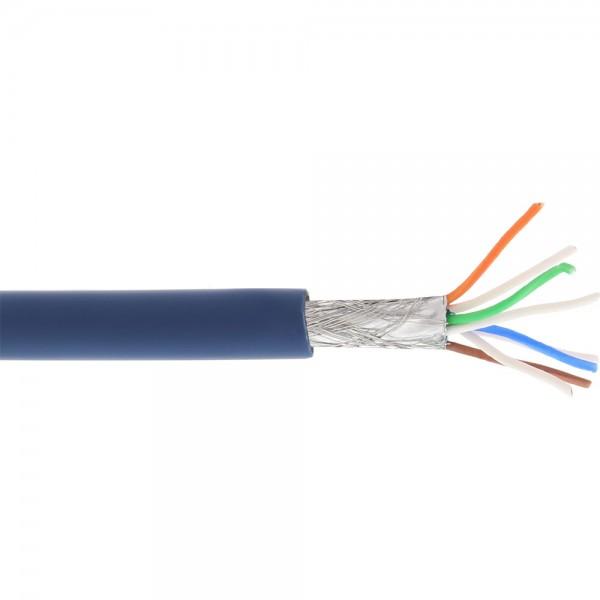 InLine® Patchkabel, S/FTP (PiMf), Cat.6A, 500MHz, halogenfrei, Kupfer, blau, 100m