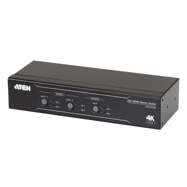 ATEN VM0202HB HDMI Matrix Switch 2x2 True 4K mit Audio De-Embedder