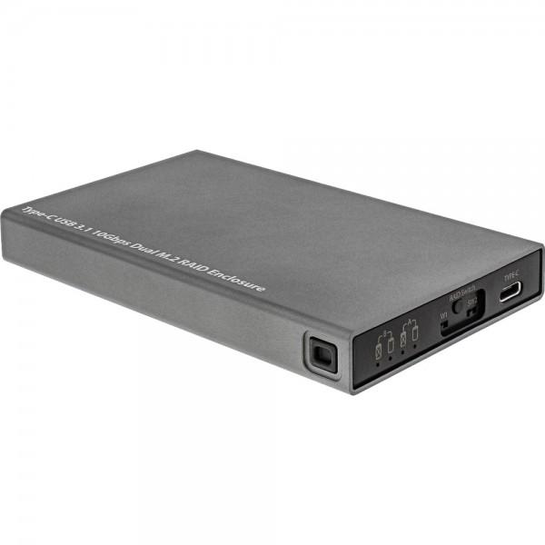 InLine® USB 3.1 Gehäuse für Dual M.2 6G SSD, mit RAID, USB Typ C Buchse