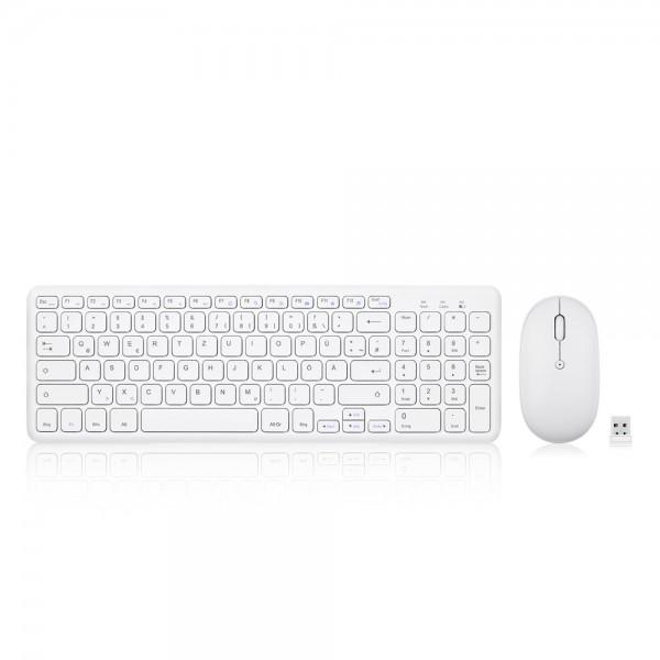 Perixx PERIDUO-613 W, DE, Tastatur- und Maus-Set, kabellos, kompakt, weiß