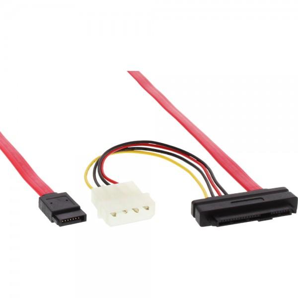 InLine® SAS Anschlusskabel, 29pol. SFF-8482 + Power an 1x SATA, single Target, 0,5m