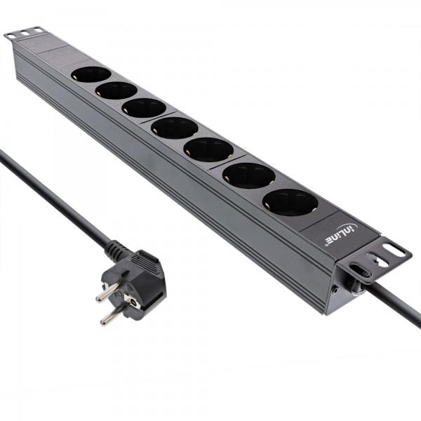 """InLine® 19"""" Steckdosenleiste, 7-fach Schutzkontakt, ohne Schalter, 2m, schwarz"""