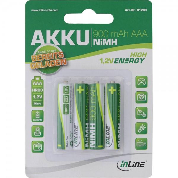InLine® NiMH-Akku, Micro (AAA), 900mAh, vorgeladen, im 4er Blister