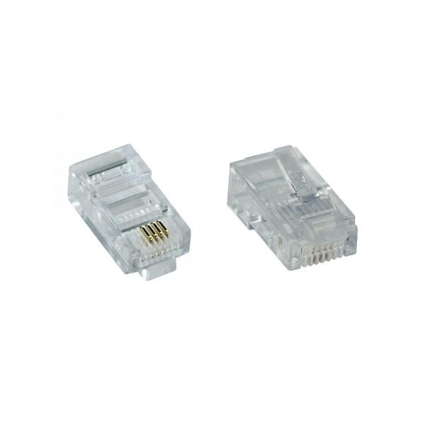 InLine® Modularstecker 8P4C RJ45 zum Crimpen auf Flachkabel (ISDN), 10er Pack