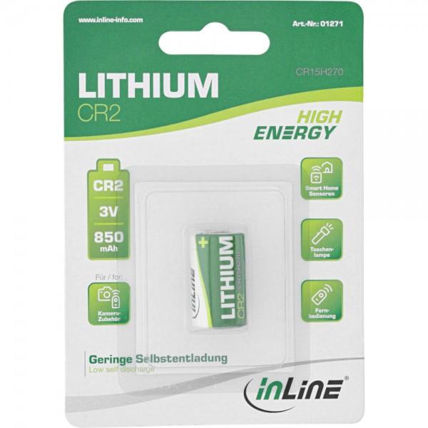 InLine® Lithium High Energy Batterie Fotobatterie, CR2, 3V 850mAh, 1er Blister