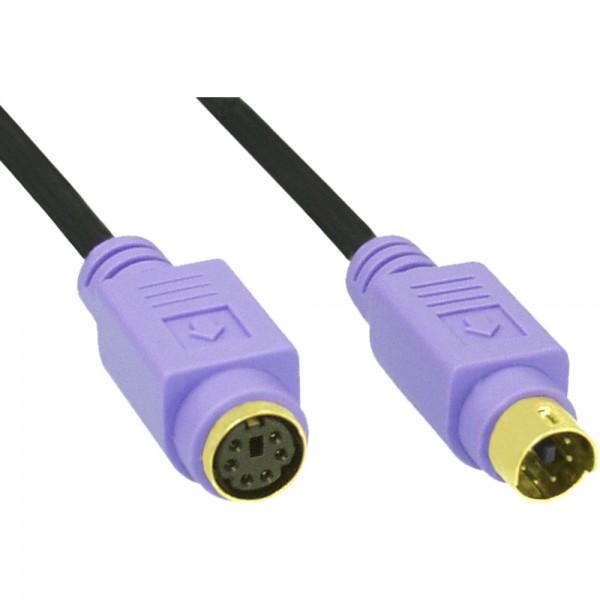 InLine® PS/2 Verlängerung, Stecker / Buchse, PC99, Kabel schwarz, Stecker violett, Kontakte gold, 2m