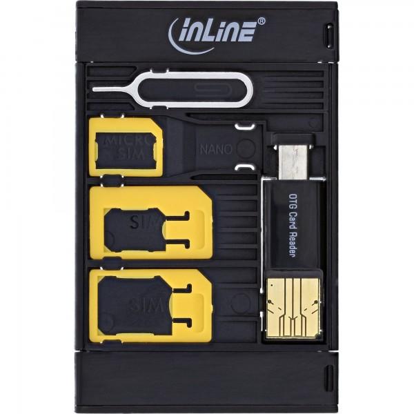 InLine® SIM-BOX, Simkartenadapter und Zubehörbox mit OTG Kartenleser