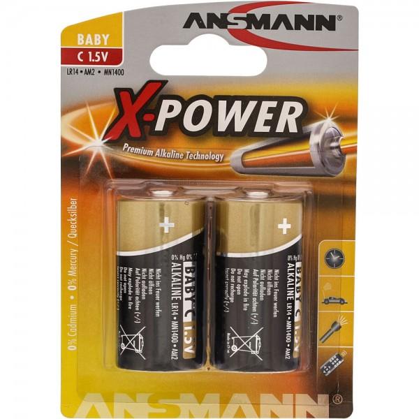 ANSMANN 5015623 Alkaline Batterie Baby C, X-Power, 7,5mAh, 2er-Pack