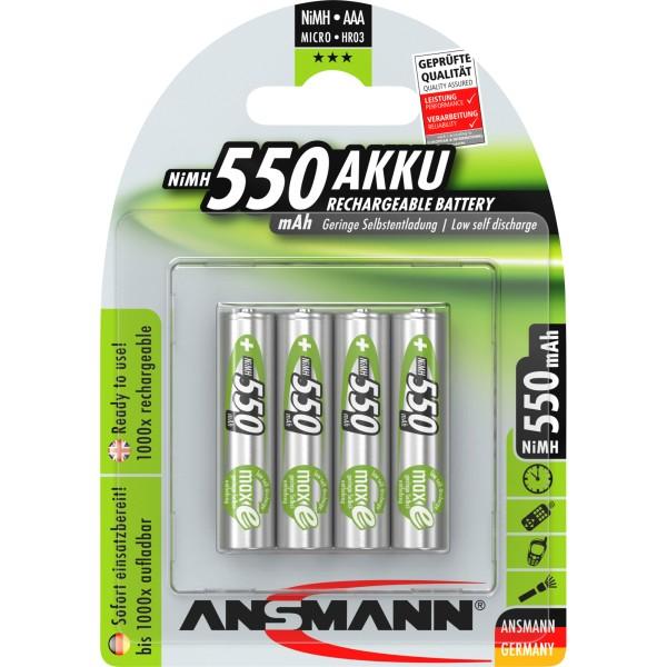 ANSMANN 5030772 NiMH-Akku Micro AAA, 550mAh, 4er-Pack