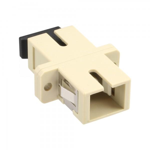 InLine® LWL Kupplung, Simplex SC/SC, multimode, beige, Keramik-Hülse, zum Einbau