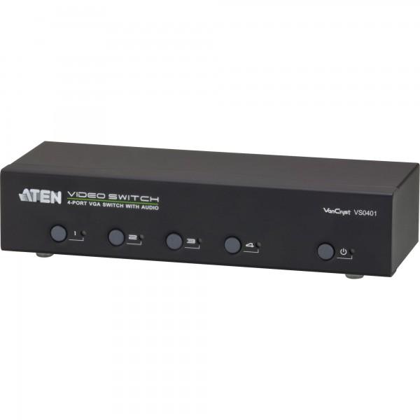 ATEN VS0401 Monitor-Umschalter VGA 4-fach, mit Audio, über RS-232 steuerbar