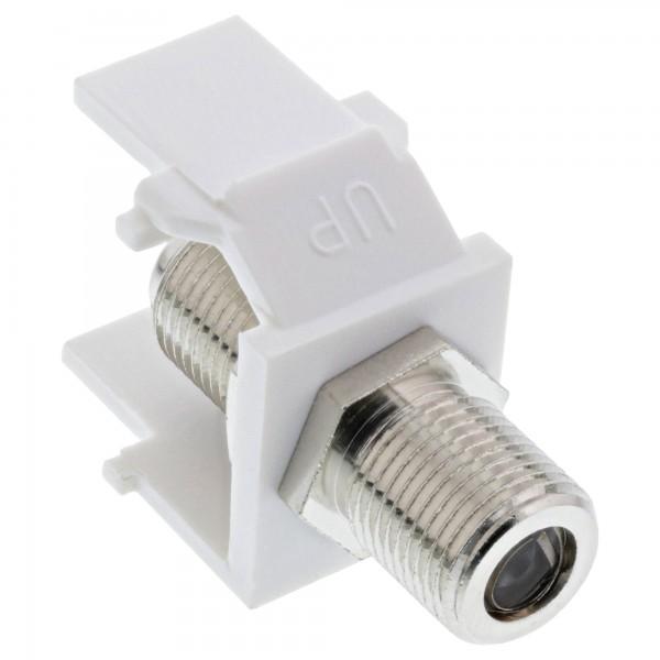 Keystone Einbauadapter, Verbindungskupplung für Sat-Kabel, 2x F-Buchsen, weiß