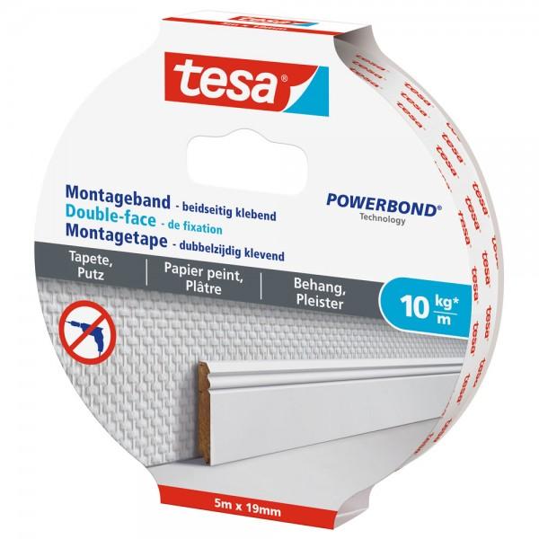 tesa Montageband, 5m x 19mm, für Tapeten und Putz, bis zu 10kg/m, weiß