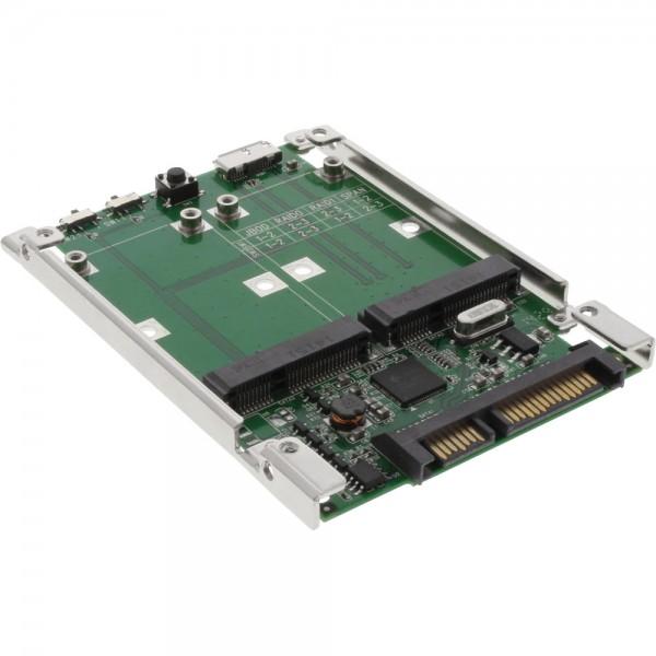 "InLine® Laufwerksadapter 2,5"", SATA & USB 3.0 auf 2x mSATA, RAID 0,1,JBOD,SPAN"