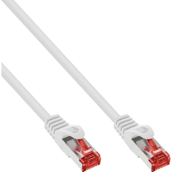InLine® Patchkabel, S/FTP (PiMf), Cat.6, 250MHz, PVC, Kupfer, weiß, 0,25m