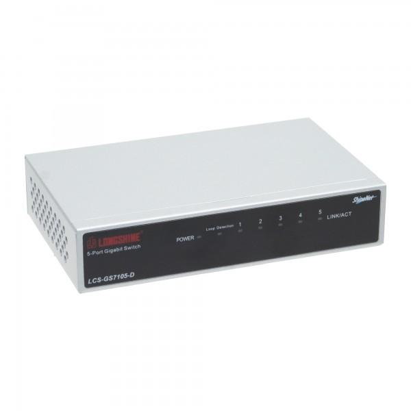Longshine Gigabit Switch, 5-Port, LCS-GS7105-E Metall