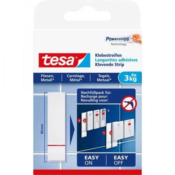 tesa Klebestreifen, 6 Stück, geeignet für Fliesen und Metall, bis 3kg (77761)