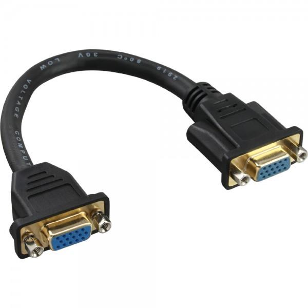 InLine® VGA Adapterkabel, 15pol. VGA Buchse auf Buchse, zum Einbau, vergoldete Kontakte, 0,2m