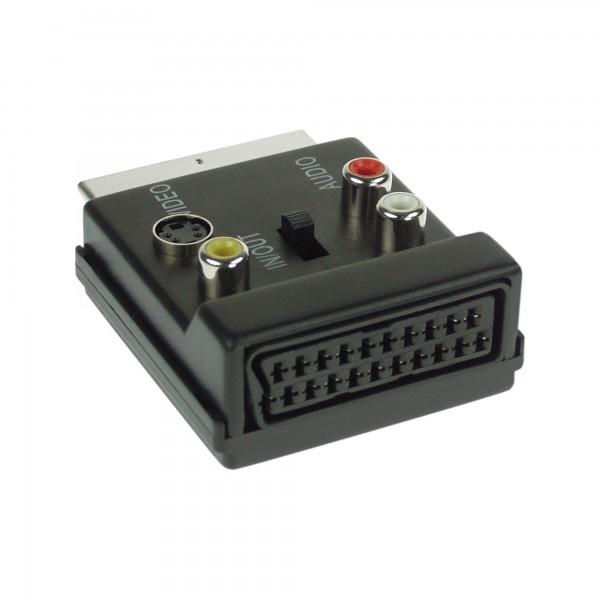 InLine® S-VHS/Scart Adapter, Scart Stecker / Buchse, an 3x Cinch Buchse und 1x S-VHS Buchse