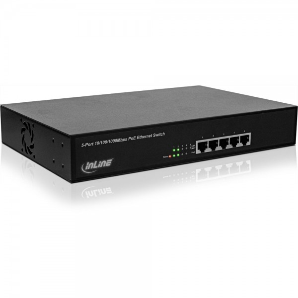 "InLine® PoE+ Gigabit Netzwerk Switch 5 Port (4x PoE+), 1GBit/s, 11"" (19"" Winkel enthalten), Metall, lüfterlos"