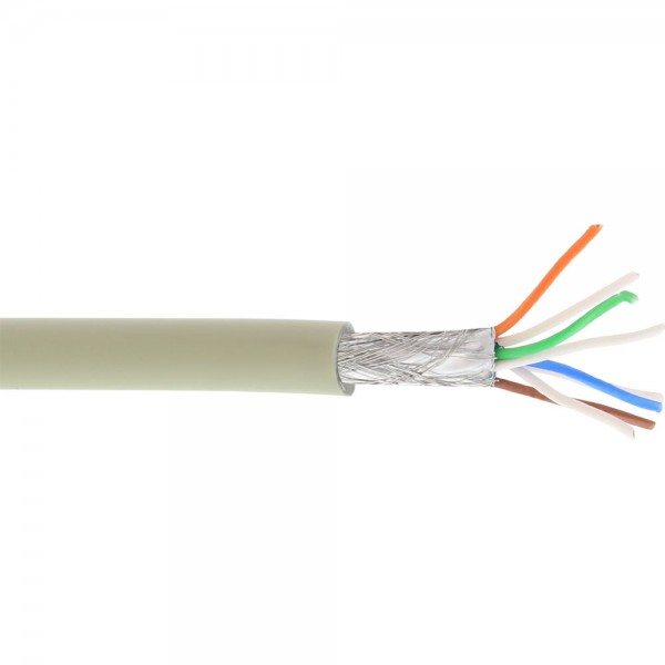 InLine® Patchkabel, S/FTP (PiMf), Cat.6A, 500MHz, halogenfrei, Kupfer, grau, 100m
