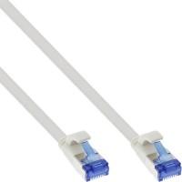 InLine® Patchkabel flach, U/FTP, Cat.6A, TPE halogenfrei, weiß, 0,25m